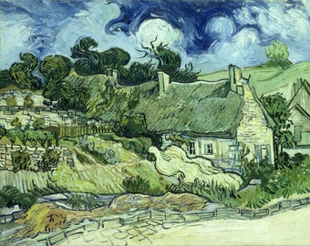 Houses With Thatched Roofs by Vincent Van Gogh, various sizes, Giclee Canvas Print