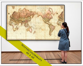 Huge detailed world wall map world map on canvas 1910 pull down map world map on canvas 1819 60w x 40h gumiabroncs Images