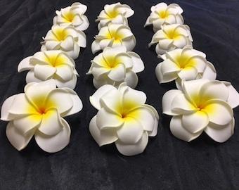 Beautiful Double Hawaiian Plumeria Frangipani Foam Hair Clip Flowers!!