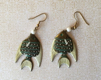 Vintage Pierced Fish Dangle Enamel Earrings BOHO Jewelry