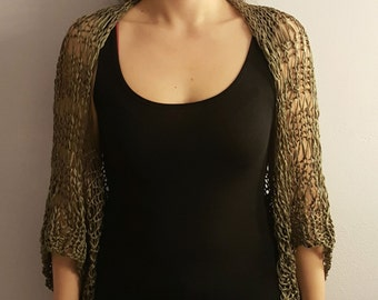 Loose knitted shrug/ wrap / capelet / bolero. Hand knitted khaki summer / spring cotton or viscose shrug. Available in many colors.