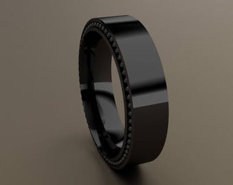 Black Gold 6mm Mens Wedding Band, Recessed Beading 14kt Gold w/ Black Rhodium Grey Designer Mens Wedding Ring, Rustic Mens Wedding Ring