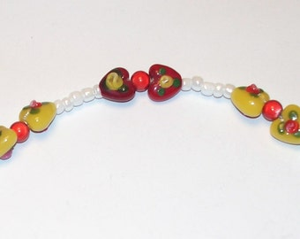 "Handmade Girl's 15"" Beaded HEART NECKLACE  White and Multi Colored Glass Hearts"