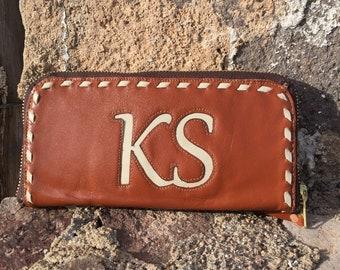 Women's Leather Zippered Wallet - Lightweight Wallet - Goat Skin Wallet - Clutch Style Wallet - Long Wallet - Western Wallet - Custom Wallet