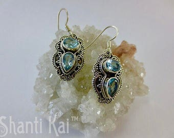 Faceted blue topaz antique 925 silver earrings