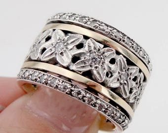 New 9K Yellow Gold and 925 Silver Swivel band, King Ring, Wedding band,flower ,zircon, Wedding Gift, Wedding bands size 7.5  (sn 3766r