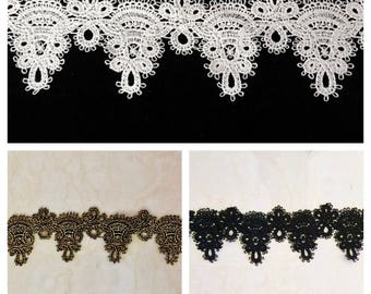 Venice Lace Trimming, Embroidered Trimming Lace Price Per Yard / 2.5'' Wide