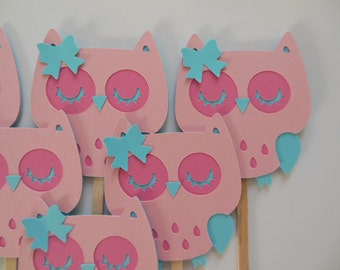 Owl Cupcake Toppers - Pink and Aqua - Girl Birthday Party Decorations - Girl Baby Shower Decorations - Set of 6