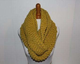 Chunky Knit Scarf, Knit Infinity Scarf, Hand Knit Scarf, Knit Scarf, Carlyle Knit Scarf, Chunky Knit Scarf, Yellow Scarf, Knit Neck Warmer