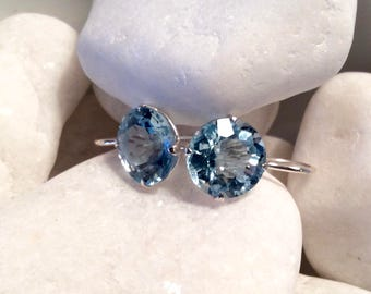 Light Blue Topaz Hanger Earrings