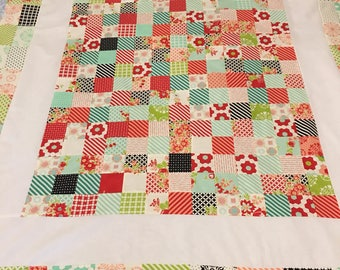Scrappy Bonnie and Camille Quilt Top 44x50