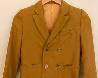 1950's Boy's Mustard Double Breasted Wool Jacket