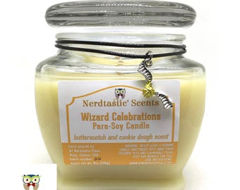 Book Candles | Wizard Celebration Butterscotch Cookie Dough Scented Candle | 8oz Glass Jar | Paraffin Soy Candle | Wax Melts Air Freshener