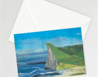 A6 coastal scene illustrated card