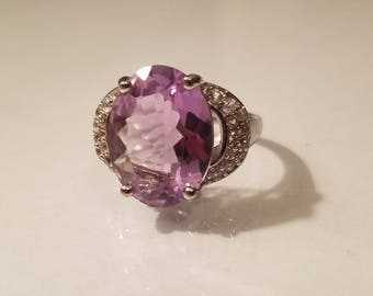Vintage art deco 4 ctw oval cut amethyst and cz cubic zirconia sterling silver ring size 6