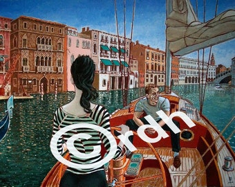 James Bond lifestyle Daniel Craig in Venice, limited edtion artwork print after 'Casino Royale'