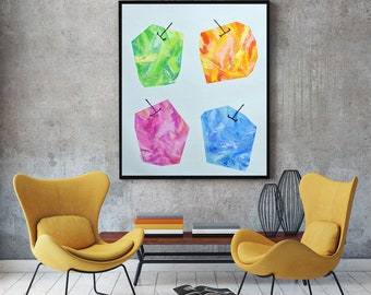 Abstract Painting Original Large Modern Art Colorful Modern Wall Art Original Contemporary Art Large Dining Room Art Fruit Pop Art Acrylic