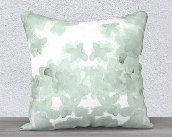 Mint Pillow, Watercolor Pillow Case, Mint Pillow Case, Mint Throw Pillow, Mint Nursery Pillow, Velveteen, Mint Lumbar Pillow, 14x20, 18x18