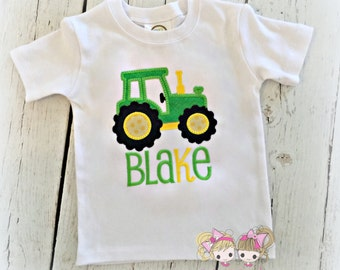 Boys tractor shirt - farm themed shirt - green tractor shirt for boys - custom shirt with tractor - personalized tractor shirt - embroidered