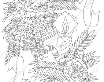 Christmas Ornaments. Coloring Page for Happy New Year greeting cards. Coloring book pages for Kids and Adults. Instant Download Print