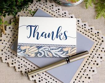 art nouveau thank you note set - wedding thank you notecards - blue thank you notes - floral thank you note cards