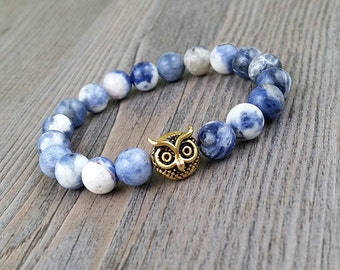 ON SALE!!! Bracelet on elastic made of stones sodalite 8mm and gold or silver owl