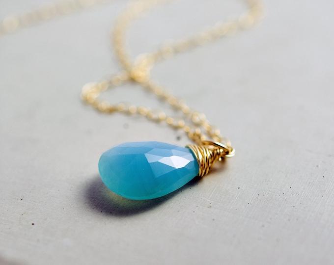 Chalcedony Necklace, Gemstone Necklace, Gold Necklace, Sky Blue, Pale Blue, Pastel Blue, Gemstone Jewelry, Gold Jewelry, PoleStar