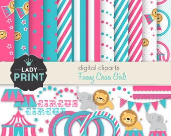 Funny Circus Girl Printable Digital Cliparts an Papers Set. Party Design. For Personal and Small Commercial Use.