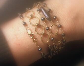 Grey Pearl Necklace, Multi Strand Bracelet