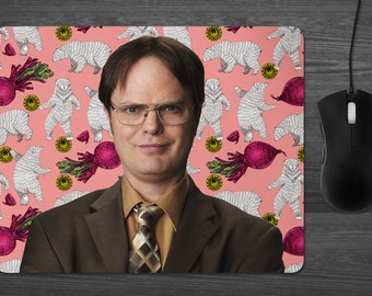 Dwight Schrute the Office Mouse Pad Dab Mat the Office tv show gifts Bears Beets Battlestar Galactica coworker gifts Dunder Mifflin