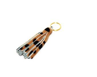 Wholesale Calf Hair Tassels, Wholesale Tassels, Leather Tassels, Leopard Tassels, Tassel Keychains, Tassels for Handbags, Qty 5