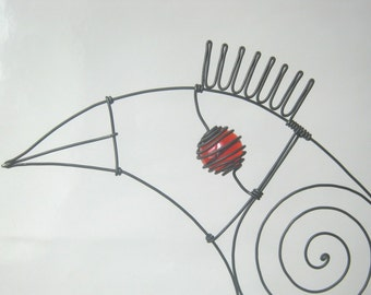 Wire Sculpture / Another Bird In Red