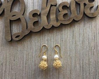 Dainty Splendor Earrings. Fireball Earrings. Pearl Earrings.