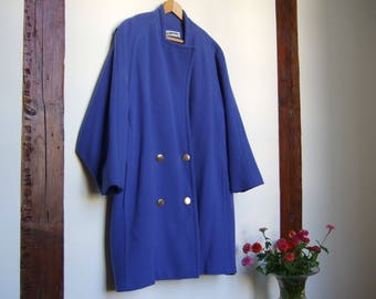 Cashmere and wool coat, violet blue coat, vintage French coat, size S / M,  1980 women coat, made in France, JJ Garella designer, tiny stain
