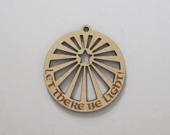 Laser Engraved Let There Be Light Wood Christmas Tree Ornaments