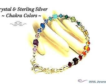 Crystal Bracelet, 7 Chakra Bracelet, Sterling Silver and Crystal - 2014-03