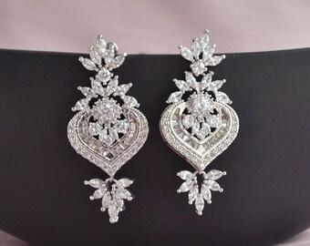 Bridal chandelier earrings, statement bridal earrings, wedding jewelry, vintage bridal earrings