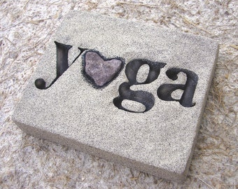 """Love Rocks """"yoga"""" Plaque with Natural Found Heart Shaped Rock - Custom Made - Word Wall Art Sign"""