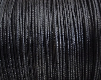0.5mm Black Waxed Cotton Cord - String - 10 Yard Increments