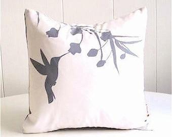 Grey Print on Off White Hummingbird with Eucalyptus  - Mini 10.5 Inches Square Pillow