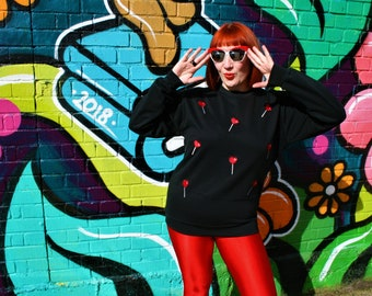 Handmade black sweatshirt with heart lolly pop embroidery applique design