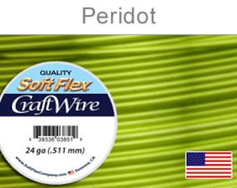 24 Gauge Peridot Green Silver Plated Wire, Soft Flex, Tarnish Resistant,  Round, Supplies, Findings, Craft Wire