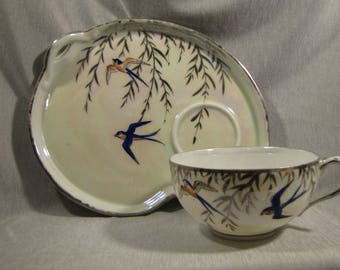 Swallowtail Bird Bone China Cup and Snack Plate Set ... & Snack plate and cup | Etsy