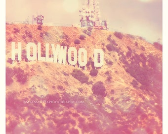 Hollywood photography, Hollywood sign photograph, Los Angeles, pink girls room decor, Academy Awards, film lovers, Oscars, LA wall art