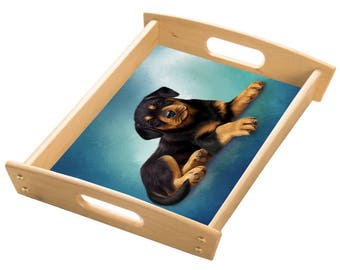 Rottweiler Dog Wood Serving Tray with Handles Natural