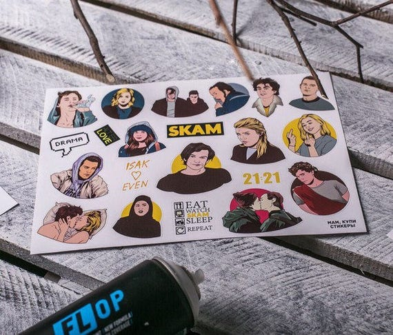 SKAM #72 love and dave story, TV series, Cartoon vinyl tumblr stickers, stickers  on laptop, art sticker, waterproof sticker, gifts ideas from StickystoreArt  ...