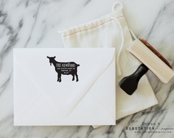 Return Address Stamp - Rubber Stamp - Farm Stamp - Housewarming Gift - Personalized - GOAT
