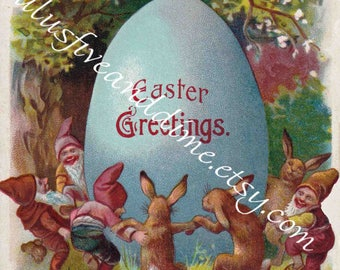 Instant Download - Vintage Easter Postcard - Commercial/Personal Use