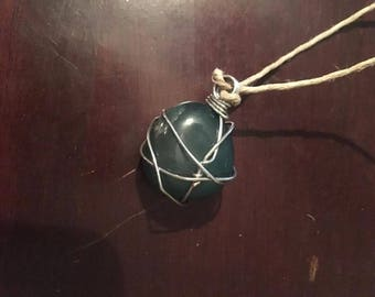 Handmade wire wrapped stone necklace