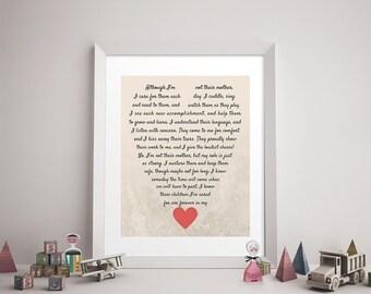 CAREGIVER/DAYCARE POEM Print - Daycare Provider Gift, Caregiver Print, Godmother, Stepmom, Stepmother, Family Art, Heart, Like a Mother